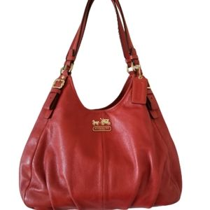 Coach Madison Leather Maggie Shoulder Bag red